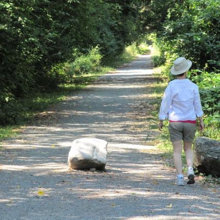 Photo d'un randonneur sur un sentier